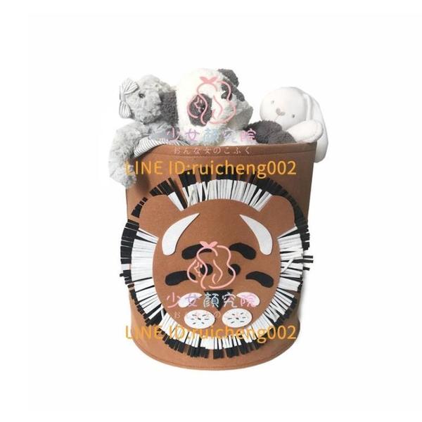 可水洗毛氈小中號臟衣籃 卡通圖案兒童玩具收納筐 寶寶雜物收納箱【少女顏究院】