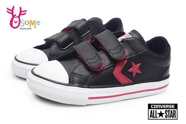 Converse帆布鞋 小童款 Star Player EV 2V系列 魔鬼氈 帆布鞋H9875#黑紅◆OSOME奧森鞋業