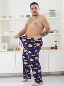 夏季男士加肥加大卡通運動睡褲肥佬特大碼寬鬆繫繩長褲家居褲