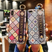 iPhone8 Plus SE2 手機殼 時尚格紋 腕帶防摔軟殼 掛脖掛繩 全包保護殼 腕帶支架手機套 iPhone SE 2020