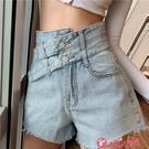 牛仔短褲 網紅高腰牛仔短褲女2021夏新款大碼顯瘦百搭設計感A字闊腿熱褲 小天使