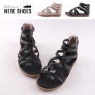 [Here Shoes]2cm涼鞋 皮革纏繞細帶交叉 平底圓頭後拉鍊涼拖鞋 羅馬涼鞋 MIT台灣製-KW1013