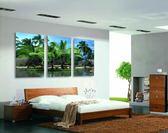 客廳沙發背景裝飾畫簡約無框畫三聯畫臥室冰晶玻璃掛畫池邊樹風景LG-67023
