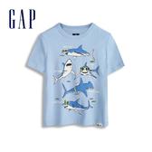 Gap 男幼童 棉質舒適圓領短袖T恤 545893-藍灰