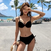 比基尼 泳衣女韓國分體三點式比基尼 性感INS高腰鋼托聚攏顯胸加厚游泳裝【快速出貨】