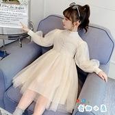 女童連身裙春裝公主裙網紗中大童兒童毛衣裙【奇趣小屋】
