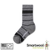 【SmartWool 美國 童健行輕量避震條紋中長襪《淺灰/黑》】SW001212/排汗襪/保暖襪/運動襪/兒童襪