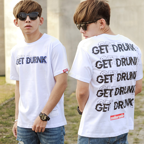 T恤 GET DRUNK翻玩文字短T【NB0499J】