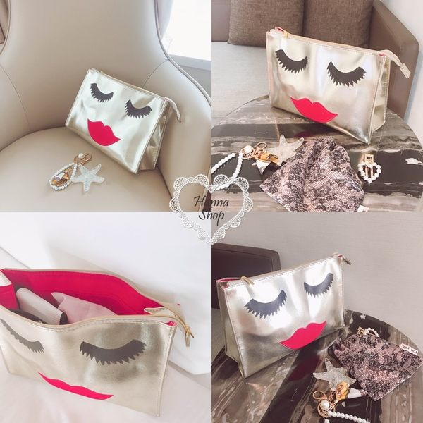 《花花創意会社》ROSE紅唇表情金色手拿化粧包【H6544】