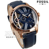 FOSSIL TWIST系列 羅馬時標雙機芯腕錶 日期/星期顯示 藍x玫瑰金框 男錶 簍空 真皮錶帶 復古 ME1162