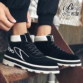低跟馬丁靴 透氣PU皮拼接短靴【JP99913】