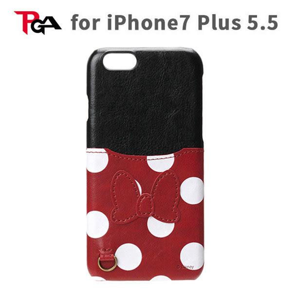 【漢博】PGA iPhone 7 Plus 5.5吋 迪士尼 米妮 皮革系列 可插卡 硬式保護殼