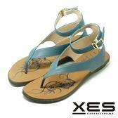 XES 夾腳涼鞋鞋 羅馬風設計 有型好穿 真皮耐穿 舒適皮中墊_天空藍