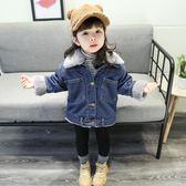 女寶寶冬裝外套0-3歲洋氣兒童加絨秋冬牛仔衣