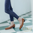 現貨 圓頭低跟娃娃鞋推薦 全真皮舒適好穿跟鞋 大尺碼鞋 版型偏大 20.5-26 EPRIS艾佩絲-琥珀咖