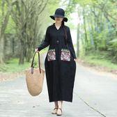 年中國風棉麻提花復古繡花民族風寬鬆長袖連身裙長裙洋裝