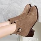 時尚短靴 絨面磨砂真皮女短靴粗跟顯瘦顯白保暖絨里中跟馬丁靴大碼 快速出貨