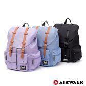 美國AIRWALK - 學院風質感 翻蓋束口筆電後背包-共三色