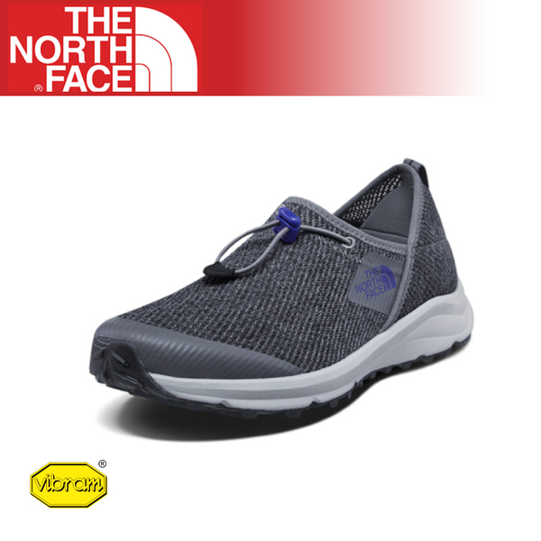 【The North Face 男 休閒鞋《鋅灰/阿滋特克藍》】3RDZ/耐磨慢跑鞋/Vibram黃金大底/懶人鞋/透氣