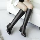 靴子女冬季女鞋馬靴女士中長靴高跟長筒靴粗...