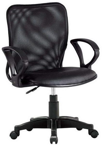hP371-02 辦公椅168-B/黑皮+黑網布/氣壓式