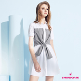 【SHOWCASE】細格紋造型綁帶拼接短袖長版襯衫洋裝(白色)