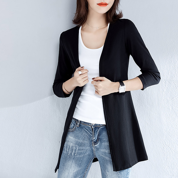 T699# 春秋韓版中長款開衫女薄款空調衫披肩外套寬鬆大碼外搭 &小咪的店&