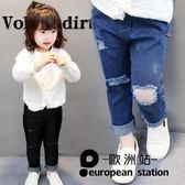 牛仔長褲/男女童兒童破洞彈力童裝褲子「歐洲站」