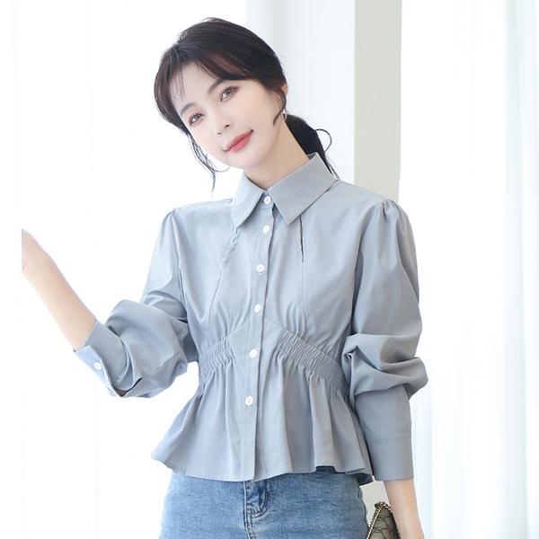 *ORead*韓版收腰設計修身長袖襯衫(淺藍色S~2XL)