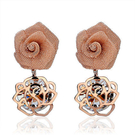 飾品 時尚玫瑰花水晶可愛甜美氣質耳環 女...