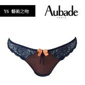 Aubade-藝術之吻S-L蕾絲丁褲(藍橘)Y6