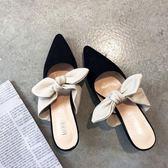 穆勒鞋2019新款包頭半拖鞋尖頭時尚高跟拖鞋女夏季外穿蝴蝶結涼拖 後街五號