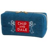 〔小禮堂〕迪士尼奇奇蒂蒂牛仔布拉鍊筆袋《藍紅框文字》收納包化妝包鉛筆盒4991277 63625