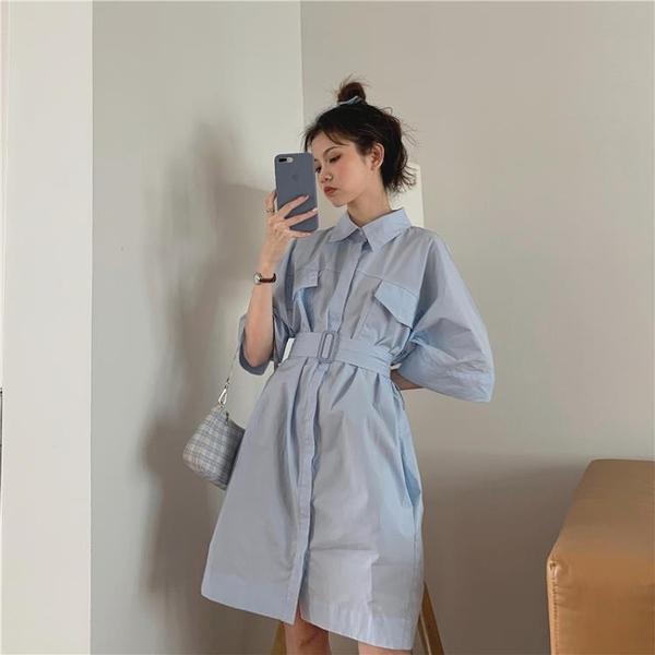 襯衫洋裝 短袖襯衫裙子女設計感小眾收腰polo襯衣連衣裙新款夏季女氣質 - 風尚3C