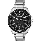 CITIZEN 星辰 光動能運動風手錶-黑x銀/45mm AW1588-57E