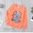 暖橘色 英雄鋼鐵人帥氣印花英文大學T 上衣 內刷毛 保暖 縮口 舒適 男童裝 男童上衣 秋冬長袖