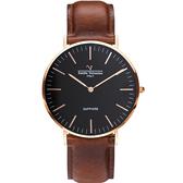 VALENTINO 范倫鐵諾 經典皮革手錶-36mm 71418B黑面玫瑰金咖啡帶