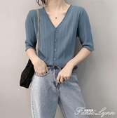 2020夏季純色短袖t恤韓版氣質百搭顯瘦薄款亞麻針織開衫v領上衣女 范思蓮思