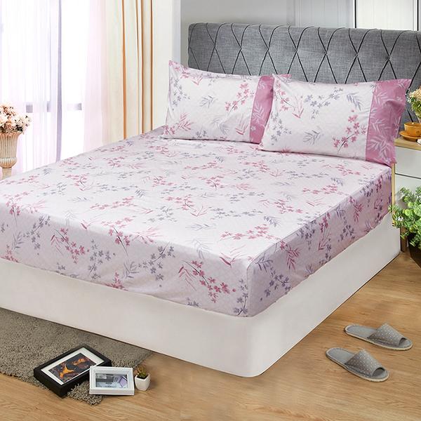 【FITNESS】精梳棉單人床包+枕套二件組-花影葉語(粉)_TRP多利寶