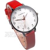 DUKE NICLE 尼克.公爵 彼得潘小仙子 童趣 時尚腕錶 高質感皮革 女錶 學生錶 D5102紅