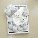 GMP BABY 灰條純棉兩用兔裝+布偶+帽彌月禮盒1組