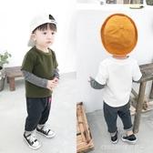 長袖上衣 寶寶T恤新款男童假兩件上衣小童韓版圓領打底衫12345歲潮 童趣潮品