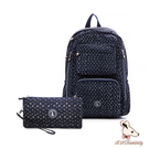 B.S.D.S冰山袋鼠 - 楓糖瑪芝 - 大容量附插袋後背包+零錢包2件組 - 幾何藍【Z060-1】
