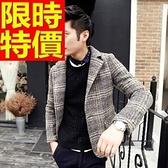毛呢外套-羊毛格子修身單扣男西裝外套63af29[巴黎精品]