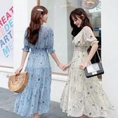 依二衣 洋裝 夏季復古水墨畫雪紡連身裙度假沙灘長裙小清新印花連身裙