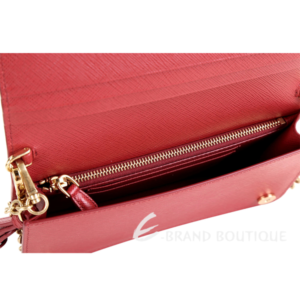 PRADA Saffiano 迷你款 金字浮刻防刮牛皮手拿鍊帶包(紅色) 1910176-54