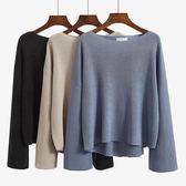寬鬆針織衫女喇叭袖打底衫2018新款韓版慵