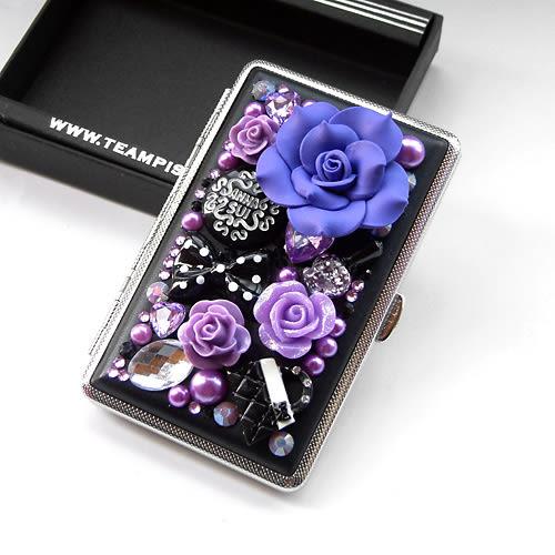 薔薇花女士加長細煙20支裝皮煙盒 創意個性超薄自動香菸夾【快速出貨八折優惠】