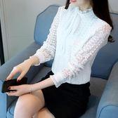 蕾絲衫韓版白色女長袖立領蝴蝶結打底衫上衣潮zh639【極致男人】