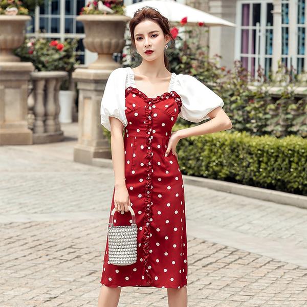 超殺29折 韓國風燈籠袖紅波點小性感氣質木耳邊短袖洋裝